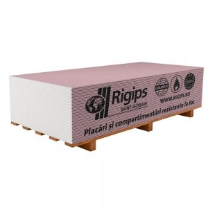 Placa gips carton Rigips RF are 12.5 ,15mm grosime, 2.6 metri lungime si 1.2 metri latime.